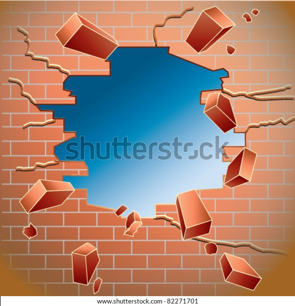 Hole in the red brick wall after impact with flying object, empty for your addition.