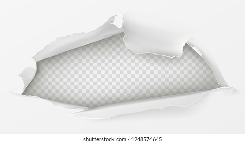 Hole with ripped edges in white paper sheet realistic vector illustration with copyspace on transparent background. Torn, damaged surface. Advertising banner design element, poster blank template