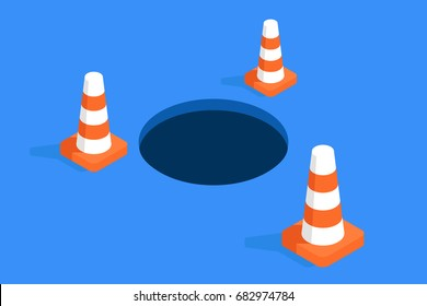 Hole safety fences of road cone, concept of communal and technical work, isometric flat vector illustration Hole fenced orange road cones isometric flat vector illustration