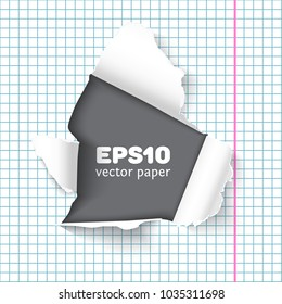 Hole in sheet of looseleaf paper, realistic vector. Back to school concept