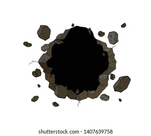 Hole in the wall. Comics style. vector illustration