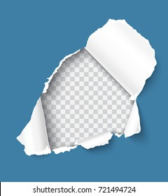 Holes torn in blue paper on transparent background, realistic vector template