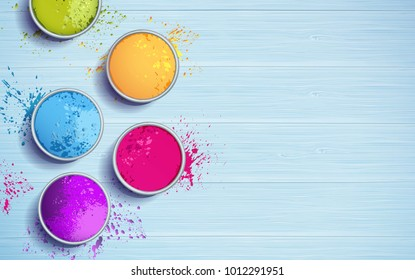 Holi background flat lay. Colorful holi powder on blue wooden background. Vector illustration