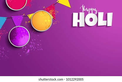Holi background flat lay. Colorful holi powder and decorative flags on purple background. Vector illustration