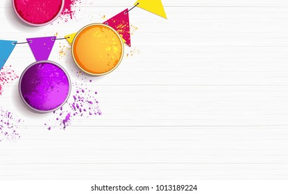 Holi background flat lay. Colorful holi powder and decorative flags on white wooden background. Vector illustration