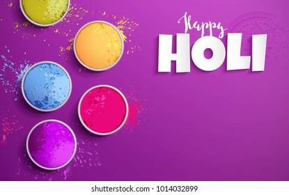 Holi background flat lay. Colorful holi powder on purple background. Vector illustration