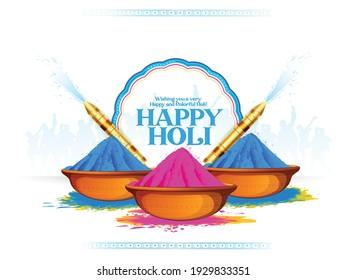 Holi celebration illustration of colorful Holi banner, poster indian Festival of Colours with hindi text holi hai