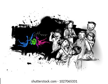 Holi celebrations - Boy playing holi with gun of pichkari isolated on colorful background, Hand Drawn Sketch Vector illustration.