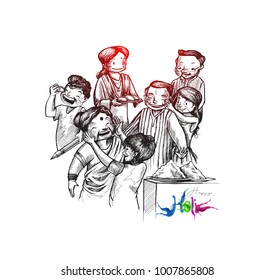 Holi celebrations - Boy's playing holi isolated on colorful background, Hand Drawn Sketch Vector illustration.