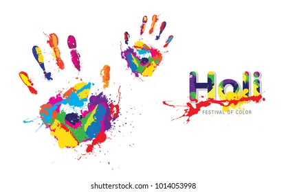 Holi Festival Background with Colorful Handprint Vector Illustration