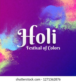 Holi Festival Of Colors celebration greeting card design with colours splash on purple background.