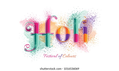 Holi Festival of Colors Logotype Vector Illustration. Hindu Spring Celebration. Clean and Minimalist Vector Illustration. Holi Logotype with Colorful Powder Burst.