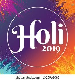 Holi Festival of Colors Logotype Vector Illustration. Hindu Spring Celebration. Clean and Minimalist Vector Illustration. Holi Logotype with Colorful Powder Burst.