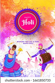 Holi Festival Flyer with Illustration of Indian Young Couples in Traditional Attires Performing Dance.