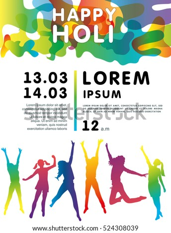Holi Festival poster with people jumping. Greeting card for Spring festival  of colors Holi Festival . Vector illustration of Happy Holi. - Vector 7eab03172