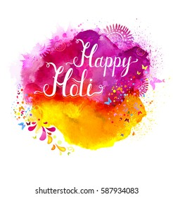 Holi festival vector banner with white lettering on pink, magenta and yellow watercolor stains. Abstract bright background for Indian holiday.