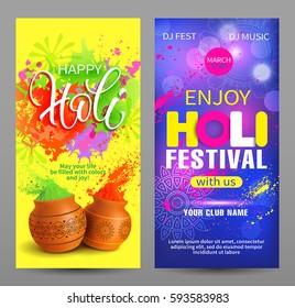 Holi festival vertical banners. Vector illustration.