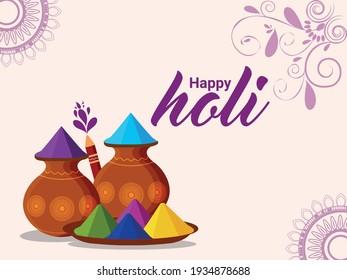 Holi flat design concept greeting card
