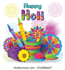Holi greetings with colorful elements