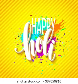 holi happy festival colors greeting background powder paint text lettering vector illustration poster