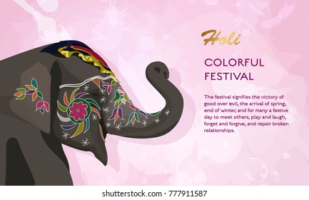 Holi indian festival elephant concept vector flat poster design. Traditional colors of holi with splashes with place for text
