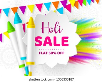 Holi sale promotional background for celebration hindu Festival of Colors. 3d realistic holi pichkari with color splash and bunting flags. Vector illustration.