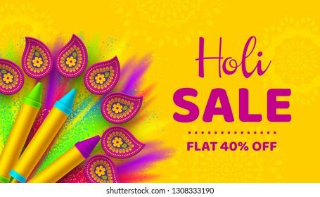 Holi sale promotional background for celebration hindu Festival of Colors. 3d realistic holi pichkari with color splash and rangoli. Vector illustration.
