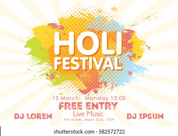Holi spring festival of colors invitation template with colorful powder paint clouds and sample text. Blue, yellow, pink and orange powder paint. Vector illustration.