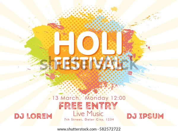 Holi Spring Festival Colors Invitation Template Stock Vector