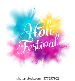 Holi spring festival of colors vector design element with realistic volumetric colorful Holi powder paint clouds and sample text. Ideal for banners, invitations and greeting cards