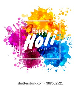 Holi spring festival of colors vector design element and sample text. Can use for banners, invitations and greeting cards