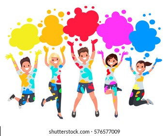 Holi Spring Festival. Template for postcards and invitations. People jump and throw paint. Vector illustration in a flat style
