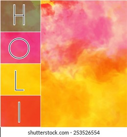 holi text in side box with colorful background