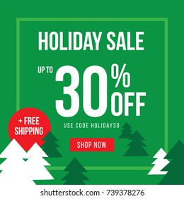 Holiday Up To 30% Off Sale Advertisement Square Template Vector Illustration