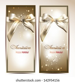 Holiday abstract banners with silk bows