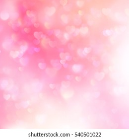 Holiday abstract glowing blurred background, bokeh. Defocused blinking hearts. EPS 10 vector file included