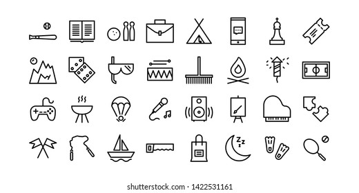 Holiday Activities Line Icon Set