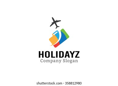 Holiday Airplane Logo Design Illustration