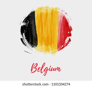 Holiday background  for Belgian national day. Painted watercolor flag in round grunge shape