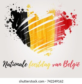 Holiday background  for Belgian national day. Painted  flag in heart shape. Dutch text.