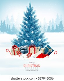 Holiday background with a blue Christmas tree and presents with santa hat. Vector