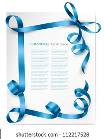 Holiday background with blue gift bow with blue ribbons. Vector