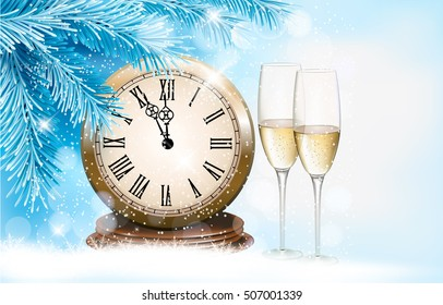 Holiday background with champagne glasses and clock. Happy New Year. Vector illustration