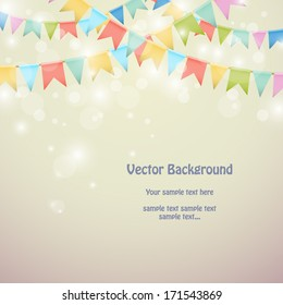 Holiday background with colored bunting flags. Vector illustration