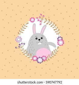 Holiday background with easter bunny and floral wreath. Vector illustration.