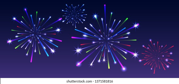 Holiday background with firework in night sky. Vector illustration.