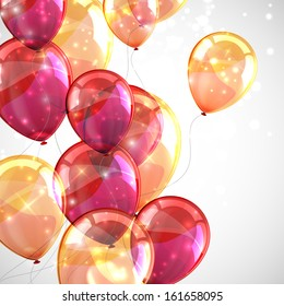 holiday background with flying multicolored balloons and sparkles