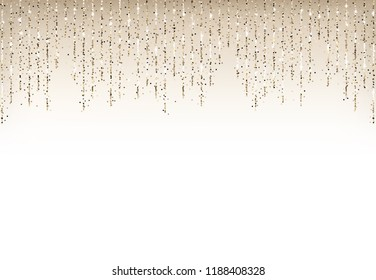 Holiday background with gold glitter falling confetti border.