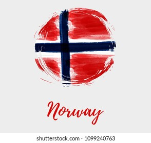 Holiday background with grunge watercolor imitation flag of Norway in round grunge shape. Norway Constitution day, 17 may. Template for poster, banner, flyer, invitation, etc.v
