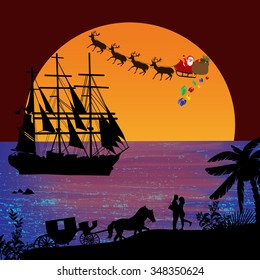 Holiday background illustration with santa claus and deers silhouettes flying over a sea